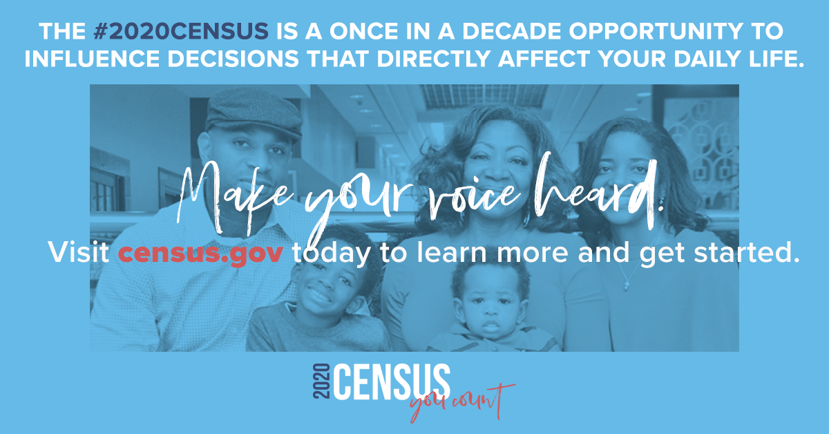 Image of family encouraging community members to take the US Census