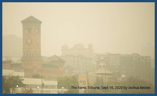 Downtown Tacoma through the haze of  wildfire smoke.