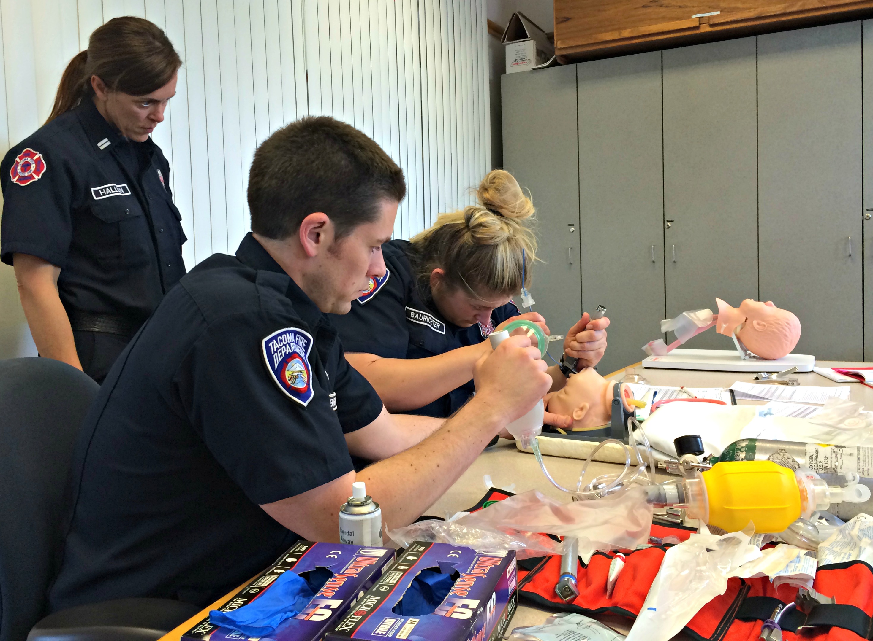 Paramedics in training class