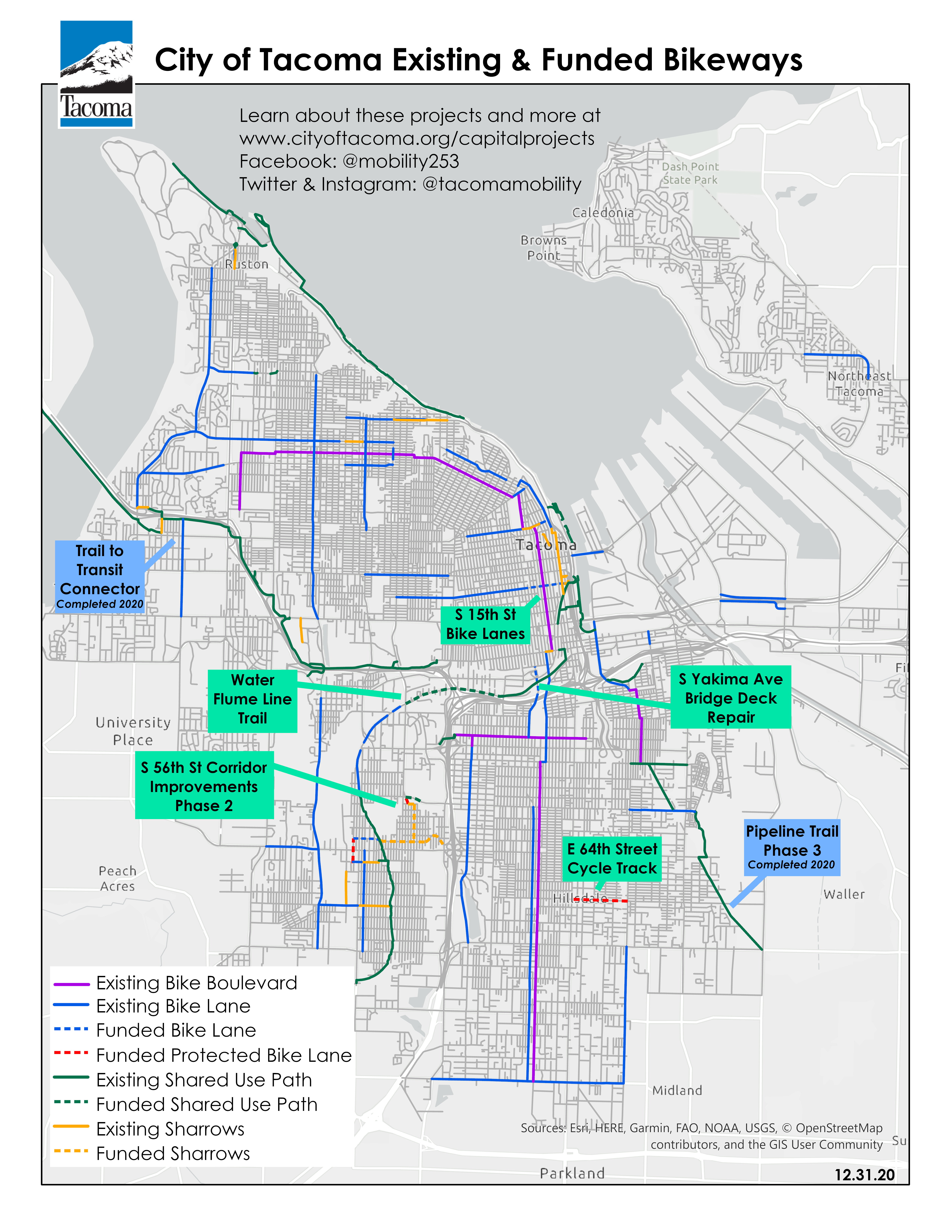 Map of existing and funded bicycle facilities