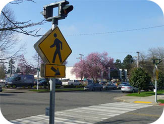 Image of pedestrian crossing and sign